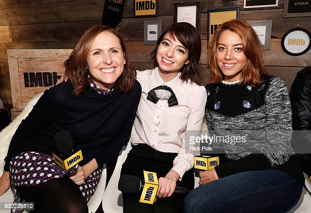 Actresses Molly Shannon Kate Micucci and Aubrey Plaza of 'The Little Hours' attend The IMDb Studio featuring the Filmmaker Discovery Lounge presented...