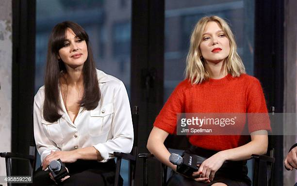 Actresses Monica Bellucci and Lea Seydoux attend AOL BUILD Series Presents 'Spectre' at AOL Studios In New York on November 5 2015 in New York City