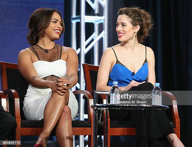 Actresses Monica Raymund of 'Chicago Fire' and Marina Squerciati of 'Chicago PD' speak onstage during the 'Chicago Fire' 'Chicago PD' and 'Chicago...