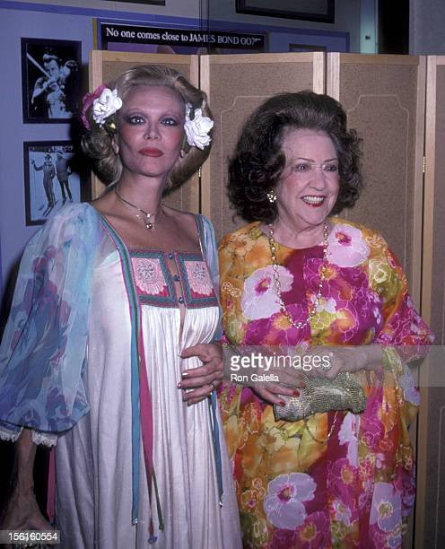 Actresses Monique van Vooren and Ethel Merman attend the premiere party for 'Endless Love' on July 16 1981 at Hisae Restaurant in New York City
