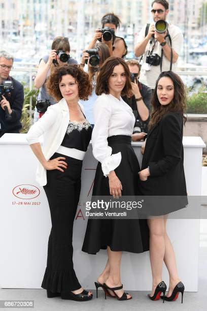 Actresses Nadia Kaci Aure Atika and Hania Amar attend 'Waiting For Swallows ' photocall during the 70th annual Cannes Film Festival at Palais des...