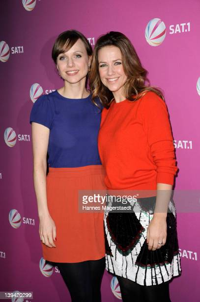 Actresses Nadja Becker and Alexandra Neldel attend 'Die Rache Der Wanderhure' Photocall at the GOP Variete on February 20 2012 in Munich Germany