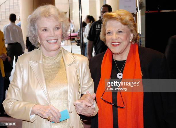Actresses Nanette Fabray and Kaye Ballard arrive at the sneak preview for the documentary film 'Broadway The Golden Age' on June 24 2003 in Hollywood...