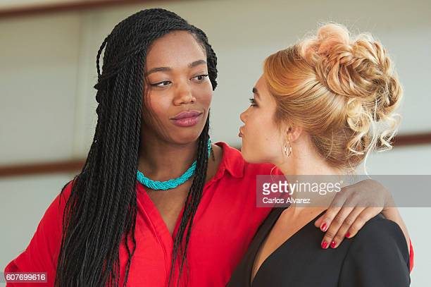 Actresses Naomi Ackie and Florence Pugh attend 'Lady Macbeth' photocall during 64th San Sebastian International Film Festival at Kursaal Palace on...