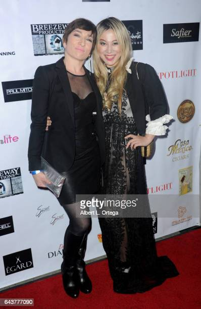 Actresses Naomi Grossman and Alice Aoki arrive for the Roman Media Inc's 3rd Annual Red Carpet And Fashion Show held at Boulevard3 on February 21...