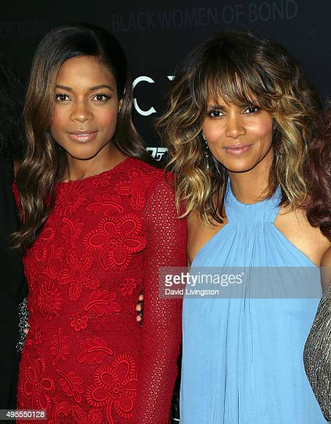 Actresses Naomi Harris and Halle Berry attend 'Spectre' The Black Women of Bond tribute at the California African American Museum on November 3 2015...