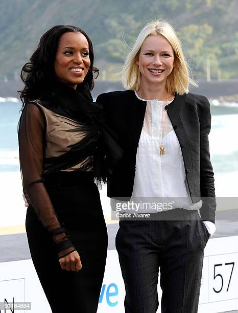 Actresses Naomi Watts and Kerry Washington attend the photocall for 'Mother and Child' during the 57th San Sebastian International Film Festival on...