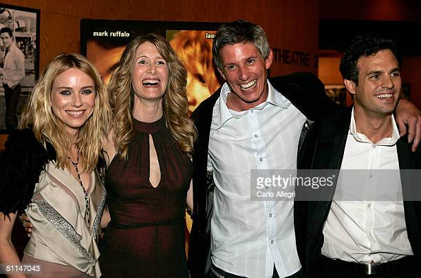 Actresses Naomi Watts and Laura Dern director John Curran and actor Mark Ruffalo pose at the Premiere of We Don't Live Here Anymore at the Director's...