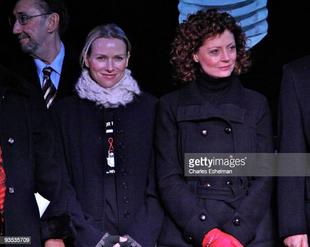 Actresses Naomi Watts and Susan Sarandon attend the amfAR World AIDS Day media event in Washington Square Park on December 1 2009 in New York City