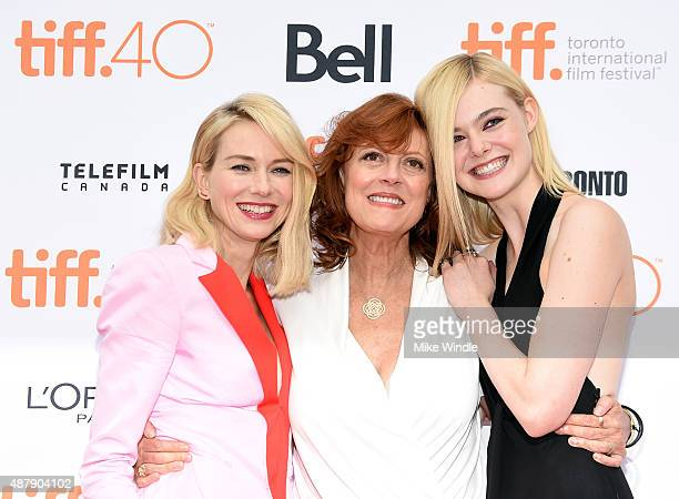 Actresses Naomi Watts Susan Sarandon and Elle Fanning at the premiere of ABOUT RAY in Toronto hosted Audi and Piper Heidsieck with Entertainment One...