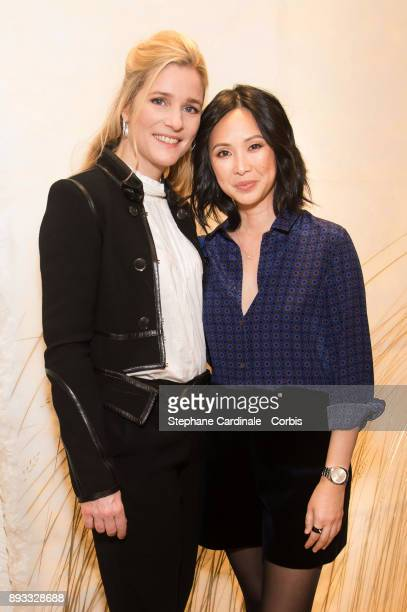 Actresses Natacha Regnier and Linh Dan Pham attend the Chaumet Boutique Re Opening Rue Francois 1er at Rue Francois 1er on December 14 2017 in Paris...