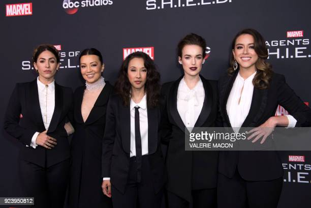 Actresses Natalia CordovaBuckley MingNa Wen producer Maurissa Tancharoen actresses Elizabeth Henstridge and Chloe Bennet attend Marvel's Agents of...