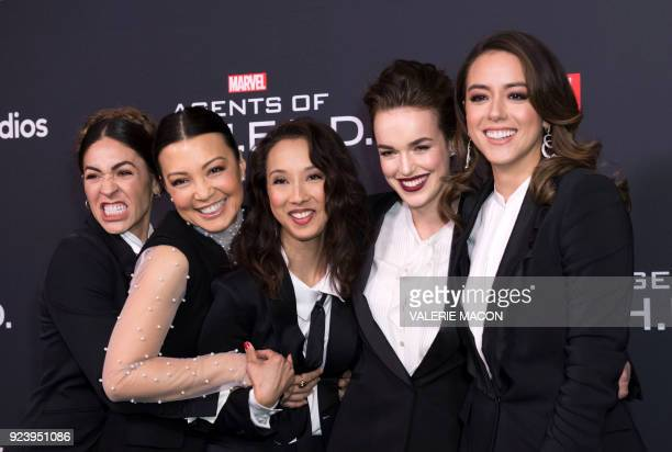 Actresses Natalia CordovaBuckley MingNa Wen producer Maurissa Tancharoen actresses Elizabeth Henstridge and Chloe Bennet attend Marvels Agents of...