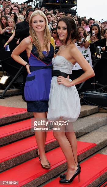 Actresses Natalie Blair and Pippa Black arrive at the Australian Idol Grand Final 2006 at the Sydney Opera House on November 26 2006 in Sydney...