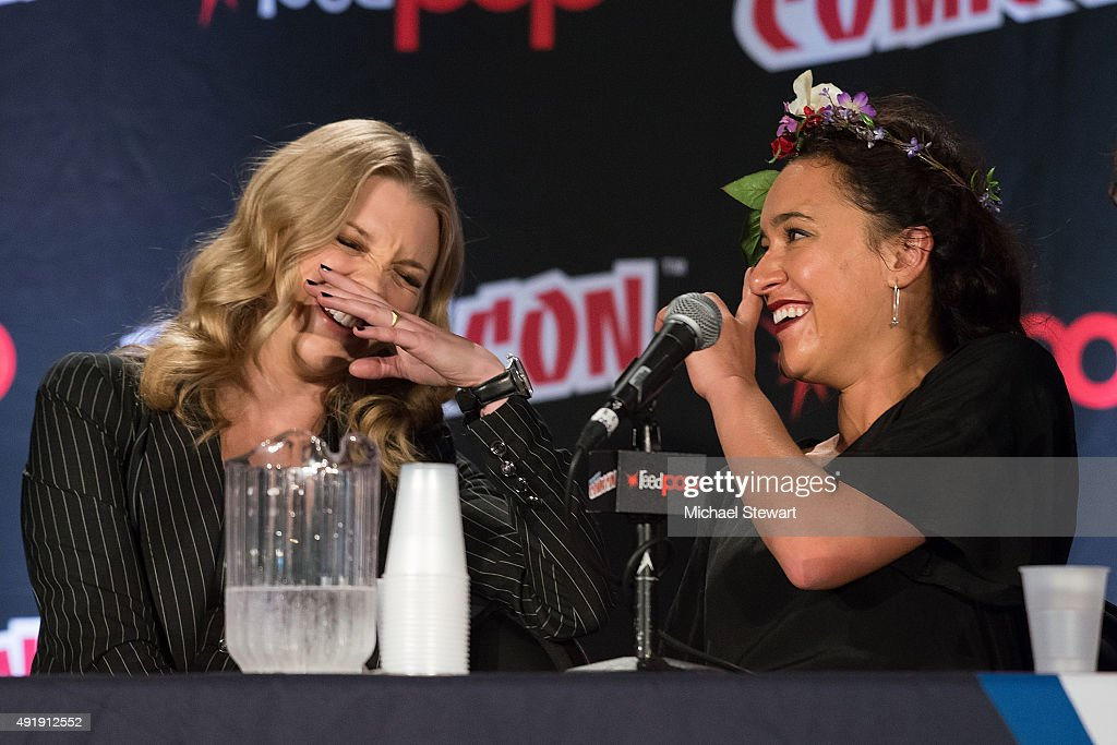 Actresses Natalie Dormer (L) and Keisha Castle-Hughes attend Game of Thrones: A Panel of Ice and Fire during New York Comic-Con Day 1 at The Jacob K. Javits Convention Center on October 8, 2015 in New York City.