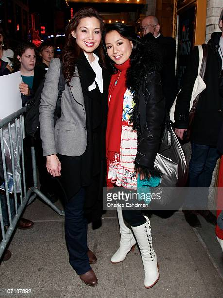 Actresses Natalie Mendoza and TV Carpio leave the theater after the opening night preview of SpiderMan Turn Off the Dark at the Foxwoods Theater on...