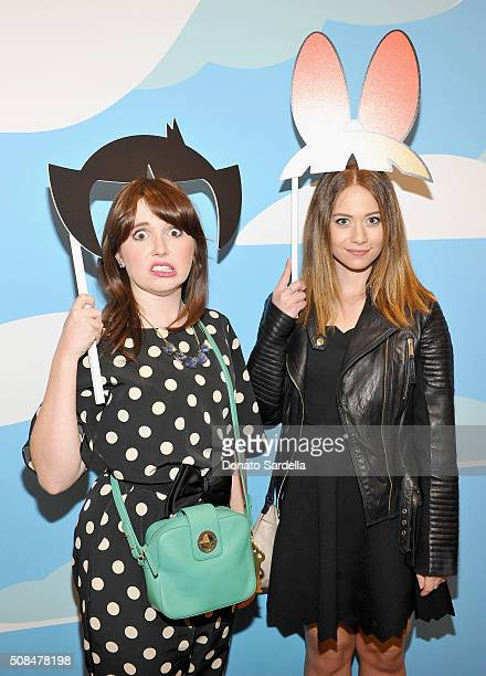 Actresses Natalie Palamides and Amanda Leighton attend The Powerpuff Girls x Moschino Launch Event at Moschino Store on February 4 2016 in West...