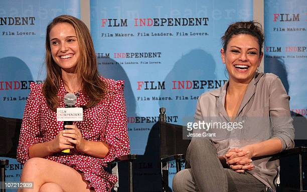 Actresses Natalie Portman and Mila Kunis attend Film Independent's screening of 'Black Swan' at ArcLight Cinemas on November 15 2010 in Hollywood...
