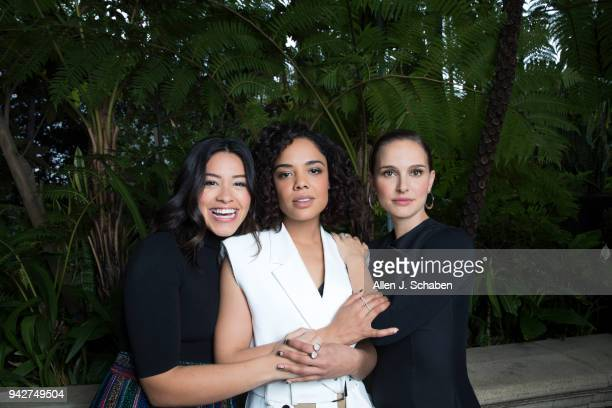 Actresses Natalie Portman Tessa Thompson and Gina Rodriguez are photographed for Los Angeles Times on February 10 2018 in Los Angeles California...