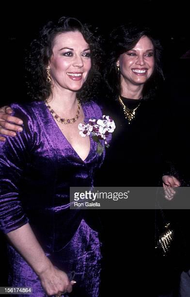 Actresses Natalie Wood and Lana Wood attend the premiere of 'Dark Eyes' on March 23 1981 at the Warner Beverly Theater in Beverly Hills California