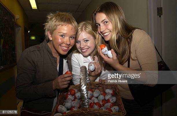 Actresses Natasha Lee Kate Garven and Christie Hayes visit The Children's Hospital at Westmead to bring Easter cheer to the sick children