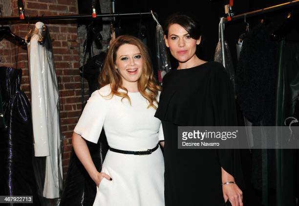 Actresses Natasha Lyonne and Clea DuVall attend the Christian Siriano show during MercedesBenz Fashion Week Fall 2014 at Eyebeam Atelier on February...