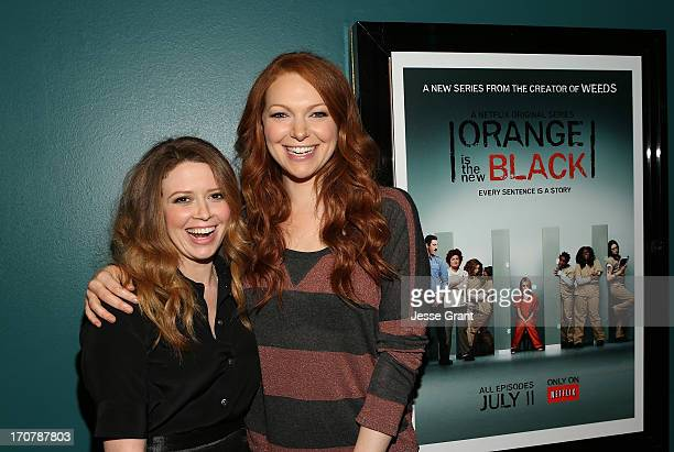Actresses Natasha Lyonne and Laura Prepon attend the Netflix Presents 'Orange Is The New Black' Special Screening at AMC Loews Broadway 4 on June 17...