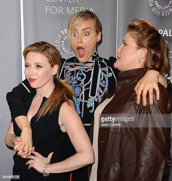 Actresses Natasha Lyonne Taylor Schilling and Kate Mulgrew attend an evening with 'Orange Is The New Black' at The Paley Center for Media on May 26...