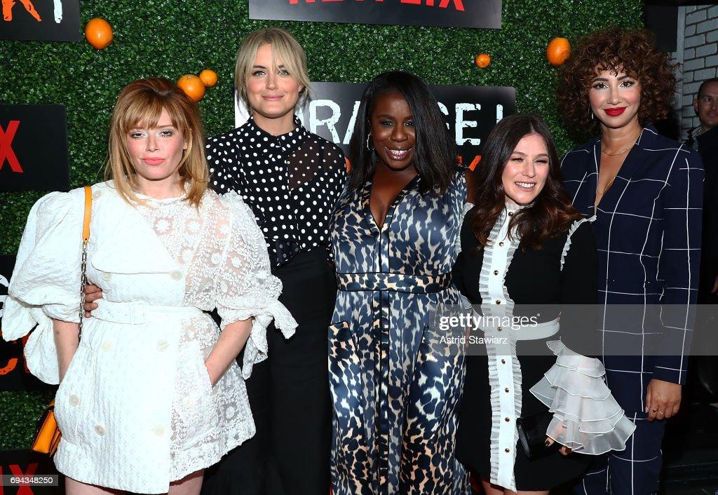 Actresses Natasha Lyonne, Taylor Schilling, Uzo Aduba, Yael Stone and Jackie Cruz attend 'Orange Is The New Black' season 5 celebration at Catch on June 9, 2017 in New York City.