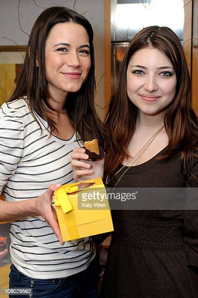 Actresses Nathalie Fay and Shelby Young pose at the 2011 DPA Golden Globes Gift Suite at the L'Ermitage Hotel on January 13 2011 in Beverly Hills...
