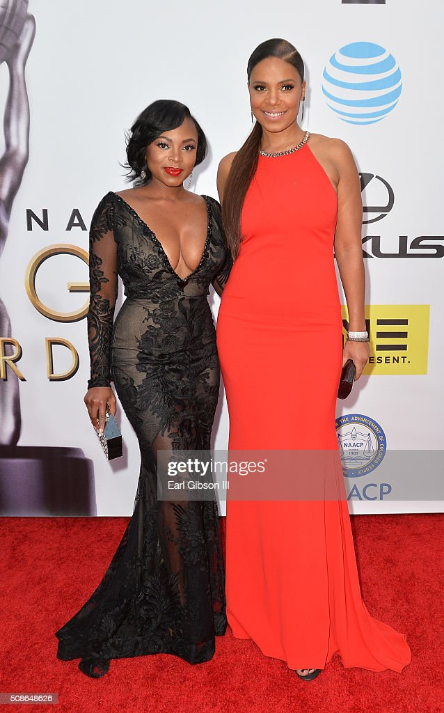 Actresses Naturi Naughton and Sanaa Lathan attend the 47th NAACP Image Awards presented by TV One at Pasadena Civic Auditorium on February 5, 2016 in Pasadena, California.