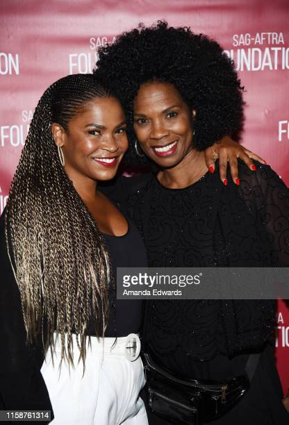 Actresses Nia Long and Tyra Ferrell attend the SAGAFTRA Foundation's Game Changers Screening Series Boyz N The Hood event at the Ford Theatre on June...