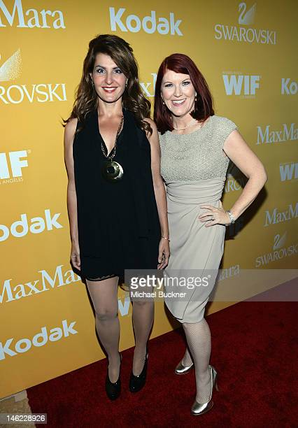 Actresses Nia Vardalos and Kate Flannery arrive at the 2012 Women In Film Crystal Lucy Awards held at The Beverly Hilton Hotel on June 12 2012 in...