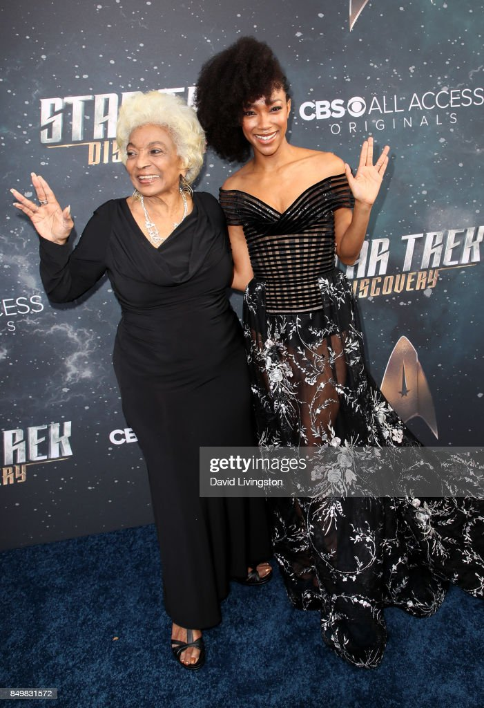 Actresses Nichelle Nichols (L) and Sonequa Martin-Green attend the premiere of CBS's 'Star Trek: Discovery' at The Cinerama Dome on September 19, 2017 in Los Angeles, California.