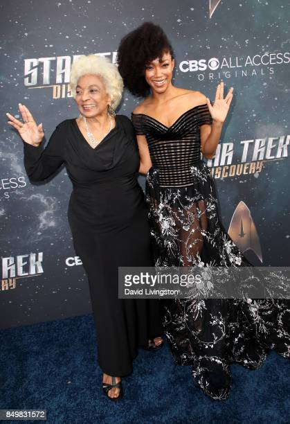 Actresses Nichelle Nichols and Sonequa MartinGreen attend the premiere of CBS's 'Star Trek Discovery' at The Cinerama Dome on September 19 2017 in...