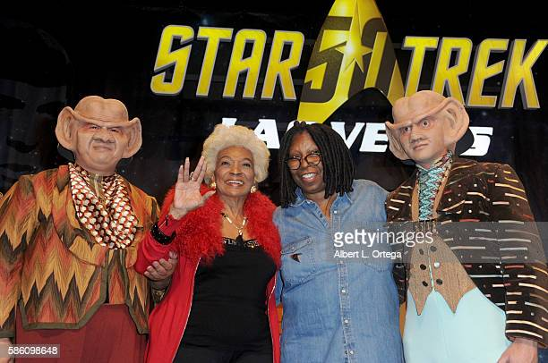 Actresses Nichelle Nichols and Whoopi Goldberg on day 2 of Creation Entertainment's Official Star Trek 50th Anniversary Convention at the Rio Hotel &...