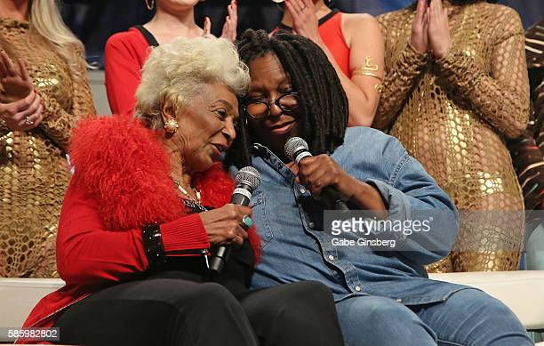 Actresses Nichelle Nichols and Whoopi Goldberg speak during the Tribute to Nichelle Nichols panel at the 15th annual official Star Trek convention at...