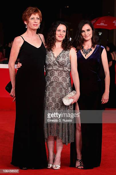 Actresses Nicola Bartlett Melanie Munt and Nina Deasley attend the Little Sparrows premiere during the 5th International Rome Film Festival at...