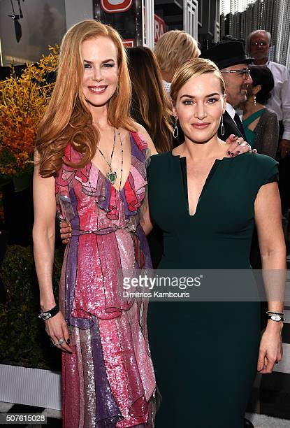 Actresses Nicole Kidman and Kate Winslet attend The 22nd Annual Screen Actors Guild Awards at The Shrine Auditorium on January 30 2016 in Los Angeles...