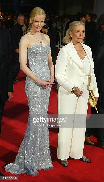 Actresses Nicole Kidman and Lauren Bacall attend the Birth Premiere at the 61st Venice Film Festival on September 8 2004 in Venice Italy