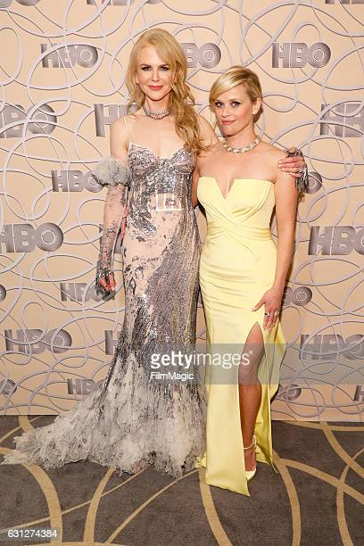Actresses Nicole Kidman and Reese Witherspoon attend HBO's Official Golden Globe Awards After Party at Circa 55 Restaurant on January 8 2017 in...