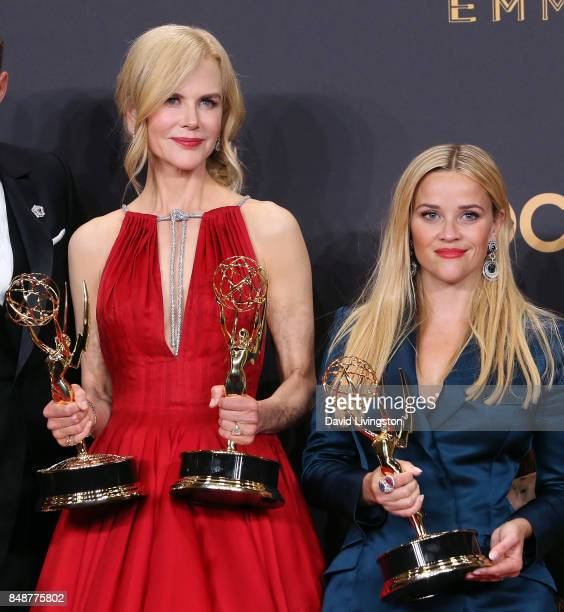 Actresses Nicole Kidman and Reese Witherspoon pose in the press room at the 69th Annual Primetime Emmy Awards at Microsoft Theater on September 17...