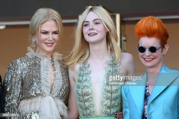 Actresses Nicole Kidman Elle Fanning and costume designer Sandy Powell attend the 'How To Talk To Girls At Parties' premiere during the 70th annual...