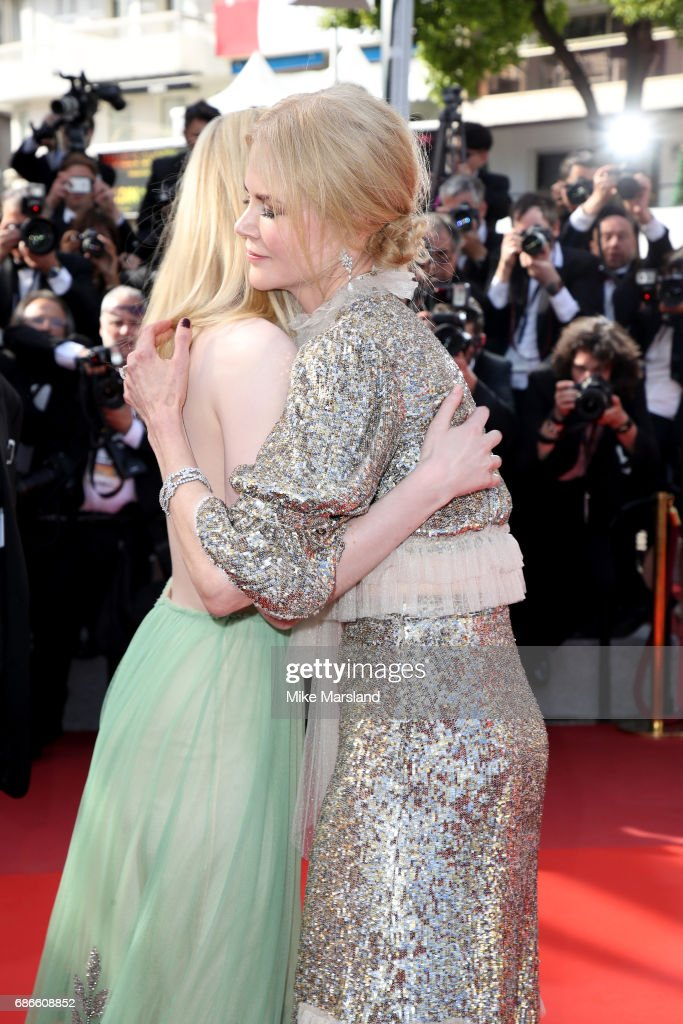 Actresses Nicole Kidman greets Elle Fanning as they attend the 'How To Talk To Girls At Parties' screening during the 70th annual Cannes Film Festival at on May 21, 2017 in Cannes, France.