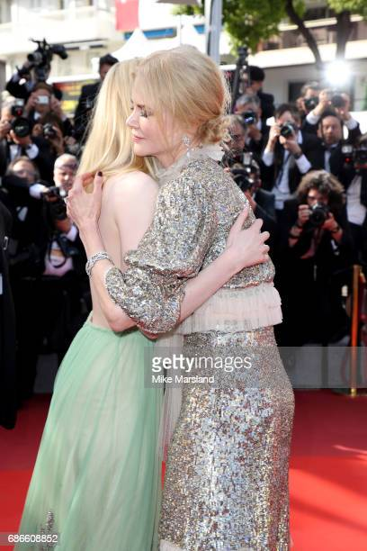 Actresses Nicole Kidman greets Elle Fanning as they attend the 'How To Talk To Girls At Parties' screening during the 70th annual Cannes Film...