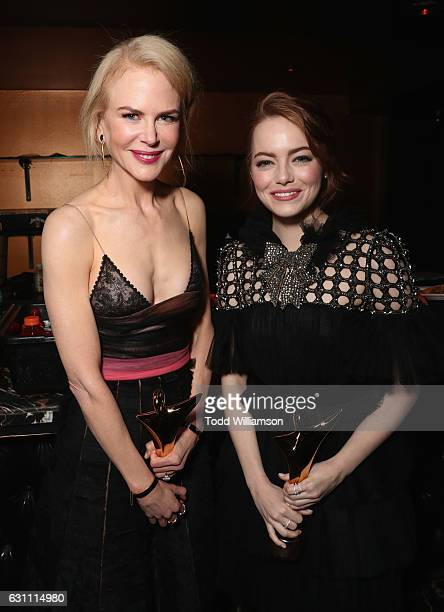 Actresses Nicole Kidman recipient of the award for Best Supporting Actress for Lion and Emma Stone recipient of the award for Best Actress for La La...