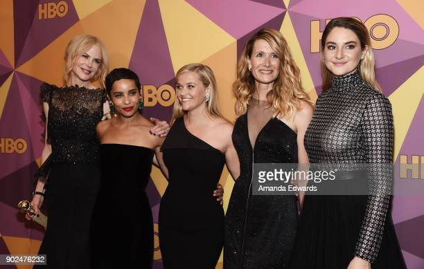 Actresses Nicole Kidman Zoe Kravitz Reese Witherspoon Laura Dern and Shailene Woodley arrive at HBO's Official Golden Globe Awards After Party at...
