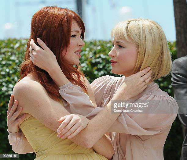 Actresses Nicole LaLiberte and Haley Bennett attend the 'Kaboom' Photo Call held at the Palais des Festivals during the 63rd Annual International...
