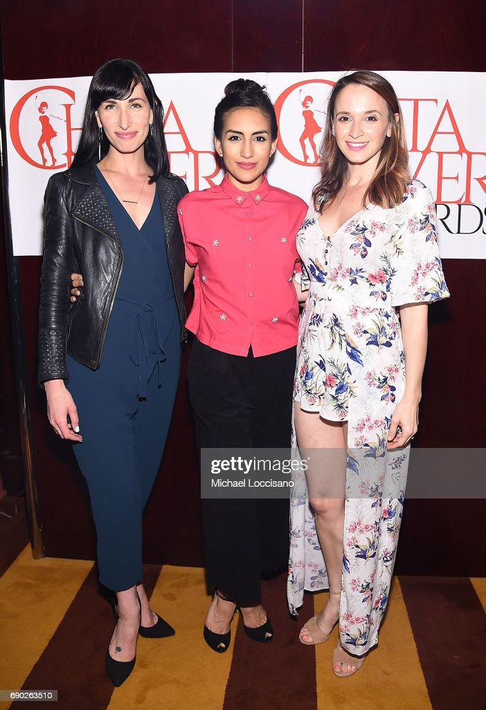 Actresses Nikka Graff Lanzarone, Yesenia Ayala and Emily Padgett attend the 2017 Chita Rivera Awards Nominees' Reception at The Lambs Club on May 30, 2017 in New York City.