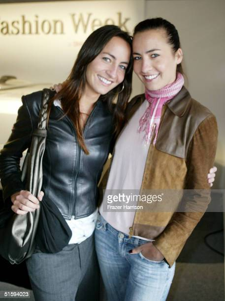 Actresses Nikki and Teena Collins pose backstage at the Ella Moss Spring 2005 show at the MercedesBenz Fashion Week at Smashbox Studios on October 27...